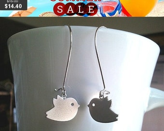 Bird Silver Kidney  Earrings,Drop, Dangle, bridesmaid gifts,Wedding jewelry