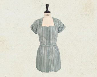 1940s playsuit, striped romper, mint, vintage inspired.
