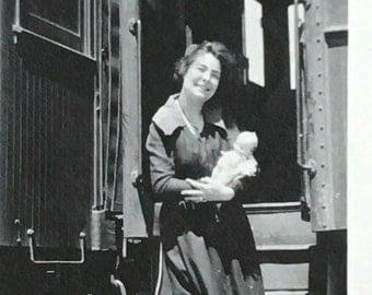 Kewpie Doll, Girl & Train Vintage Photo