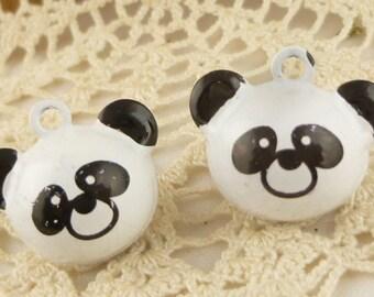 Panda Bear Jingle Bells Metal Charms (2)