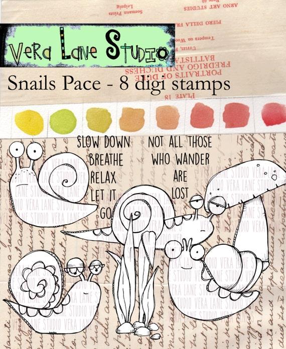 Snail's Pace - 8 digi stamp bundle