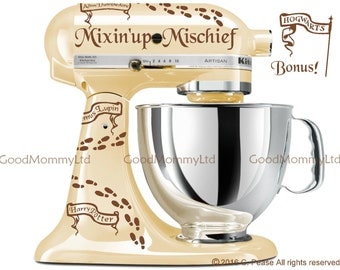 """Marauder's Map """"Mixin'up Mischief"""" Decal Kit for your Kitchenaid Stand Mixer - Harry Potter Inspired with Footprints and Nametags"""