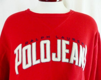 vintage 90's Ralph Lauren Polo Jeans Company red crew neck fleece graphic sweatshirt navy blue embroidered white grey applique felt logo XL