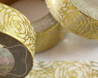 Gold Roses WASHI TAPE, 10 Yard Rolls, Foil Roses, Gold Foil Flower Washi Tape, Decorative Paper Tape, Many Uses