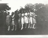 Old Photo Women in a Lne wearing dresses 1920s Photograph snapshot vintage