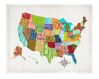 4x6 USA Patchwork Map - INSTANT DOWNLOAD