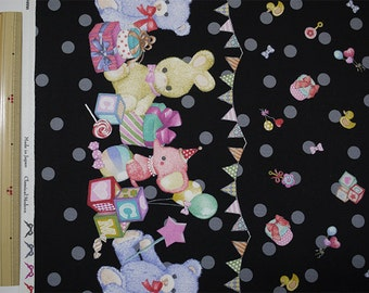 Classical and Modern Japanese Fabric  / Stuffed Animal Oxford Fabric Black - 50cm x 110cm