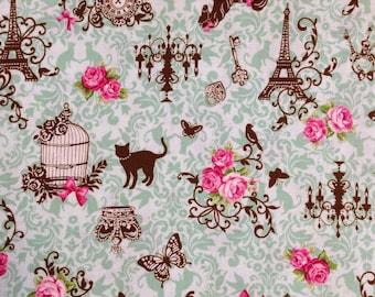Cat in Paris Green / Japanese Fabric - 110cm x 50cm