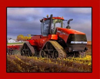 CASE IH 500 Tracked Tractor 100% Cotton Quilting Fabric 110cm x 90cm