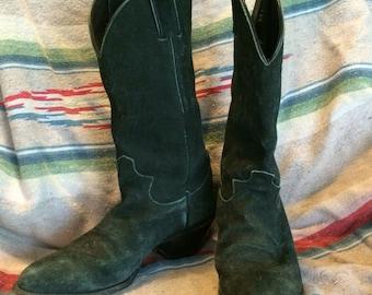 Vintage Justin worn in black suede cowboy boots