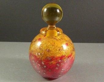 Signed Moretti Murano Art Glass Scent Perfume Bottle / STUNNING Vibrant Aventurine