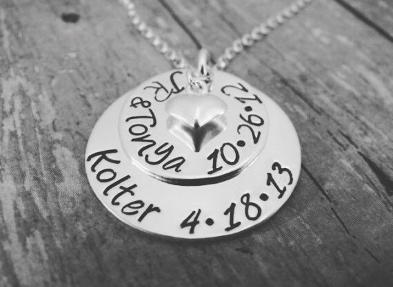 Personalized Mother Necklace, Sterling Silver Name Necklace, Custom Name Plate Necklace, Grandmother necklace, Layered necklace,