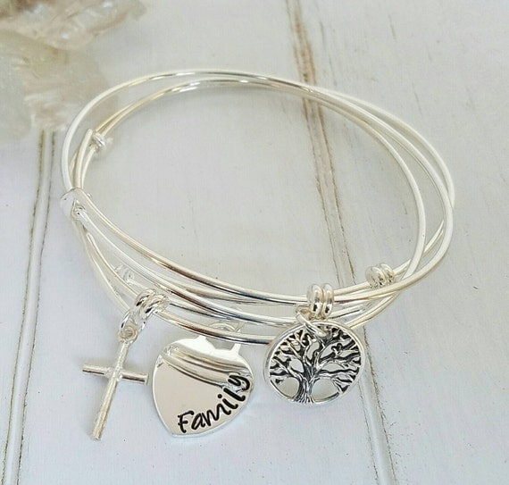 3 Adjustable Bangle Bracelets, Sterling Silver Bangle, Expandable Charm Bracelet, Stackable Bangle Bracelets, Adjustable Bangle Bracelet set