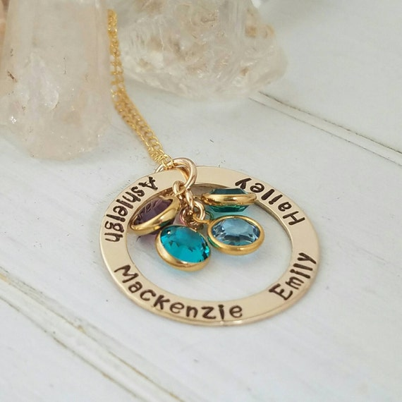 Personalized mother necklace, 14kt Gold Filled, 4 name Necklace,  hand stamped, gold name Necklace, Birthstone Jewelry, grandmother necklace