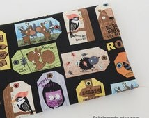 Cartoon Cotton Fabric, Black With Cool Animal Bookmark Cotton Fabric, Baby Kids Girl's Quilting Fabric - 1/2 yard