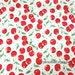 CHERRY fabric/ Cotton fabric/ Red Cherry Green Leaves Cotton On White/ Shabby Chic Fruit fabric- Fabric by half yard