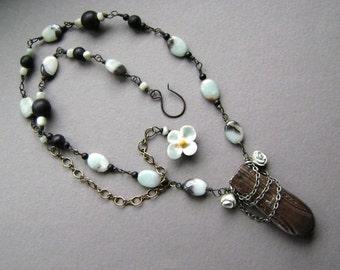 Aqua Rose, assemblage necklace, vintage vase necklace, handmade ceramic rose, amazonite beads, robins egg blue, rose jewelry, AnvilArtifacts