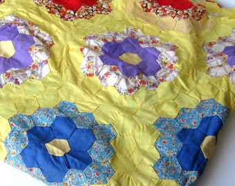 "SALE, Vintage Unfinished Quilt Top, Grandmother's Garden, 72"" x 81"", Handmade scrappy, yellow bedding, gift idea"