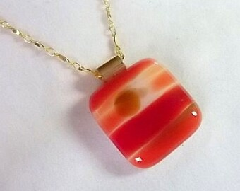 Harvest Sunset Fused Glass Necklace