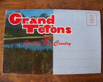 Vintage Grand Tetons National Park Wyoming Foldout Postcard.Jackson Hole Wyoming.Souvenir Folder.The Tetons Postcard.Vintage Ephemera.