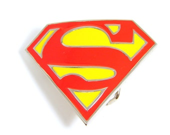 Superman Belt Clip, Red and Yellow Belt Clip, Vintage Belt Clip, Vintage Superman, Silver Belt Clip