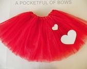 Red Valentine Tutu Skirt, Girls Red Tutu Skirt