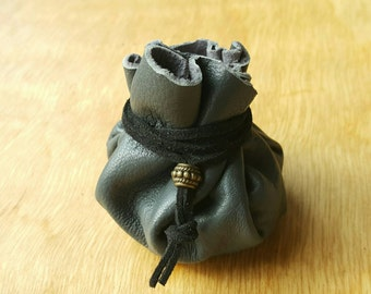 Small, Grey, Leather Dice Bag