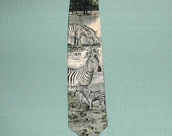 Vintage Man's Zebra Necktie—Vintage Zebra Necktie—Silk Necktie--Zebra Tie--Jungle Motif Necktie--Black and White Necktie