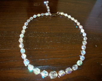 Araura Borealis Crystal Bead Vintage Necklace Prom Rhinestone necklace Dates From 30's to 50's Very Art Deco