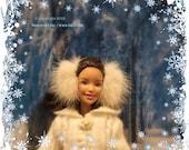 BARBIE-1 Genuine Real While Mink Barbie Fashion Doll Fur Earmuffs Clothing
