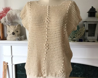 70s Cotton Crocheted Top