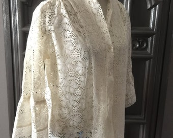 60s Lace Bell Sleeve Blouse