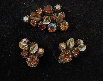 Austria Amber Rhinestone Brooch Earrings Vintage Jewelry Demi Parure 1950's Swarovski Crystals Clip On Earrings