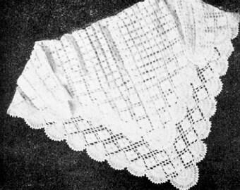 Gardenia Babys Lacy Shawl Vibtage Crochet Pattern