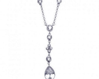 Sterling Silver Rhodium Plated Clear CZ Dangling Pendant Necklace #14