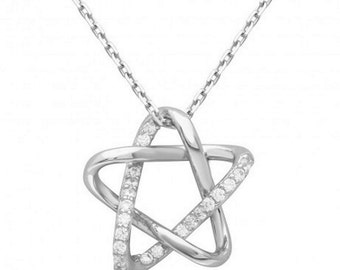 Sterling Silver Rhodium Plated Intertwined Star Pendant With Chain #25