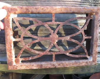 Vintage Cast Iron Wall Grate, Flower Design, 1920's Solid Secure, Shabby Style, Cottage Chic, RosesAndButterflies, Victorian, Home Decor