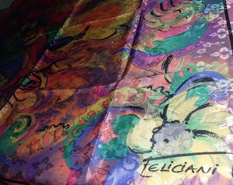 VINTAGE ITALIAN Feliciani Scarf Pretty In Pink Dancing Lovers Abstract Print