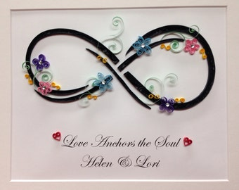 Quilled Art, Infinity, Custom quote, Framed 11x14