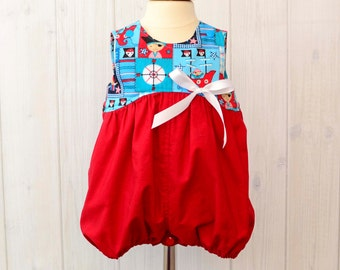 Baby Girl Rompers - Pirate - Girl Rompers - Bubble Romper - 1530