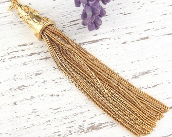 Gold Plated Chain Tassel, Fox Tail Chain Tassel, 15mm, 1 piece // TAS-099