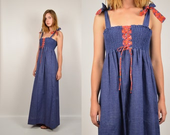 70's Hippie Maxi Dress Empire Waist
