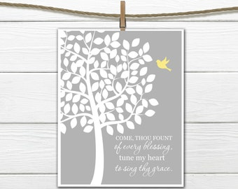 Christian Hymn Wall Art - Come Thou Fount of Every Blessing - 8x10 and 11x14 - Sing Thy Grace INSTANT DOWNLOAD