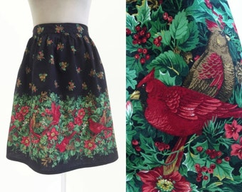 Vintage Half Apron - Red Cardinal Bird Print - Holly Pattern - Christmas Apron Pinny