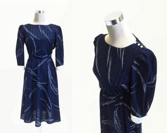 1980's Vintage Dress - 70s 80s Dress - French Navy Blue Day Dress