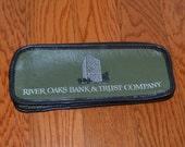 Vintage Bank Bag,  River Oaks Bank and Trust, Houston, Texas, TX, Deposit Bag, Money Bag, Zippered Pouch, Pencil Case