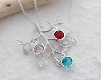 Family tree necklace - Personalized Birthstones, Family Tree of Life Necklace . Gifts for Mom Grandma, Popular items silver tree necklace