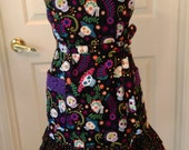 Adjustable Women's Apron/ Day of the Dead, Dia de Muertos Apron/ Skull Theme Apron Black, Bright Rainbow of Color, White Skulls