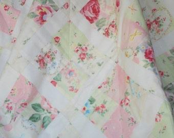 GIRL QUILT, floral, roses, pastel florals, pastel roses girl quilt