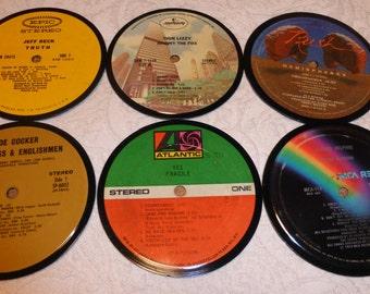 Vinyl Record Album LP Coasters set of 6 mixed artists #A7